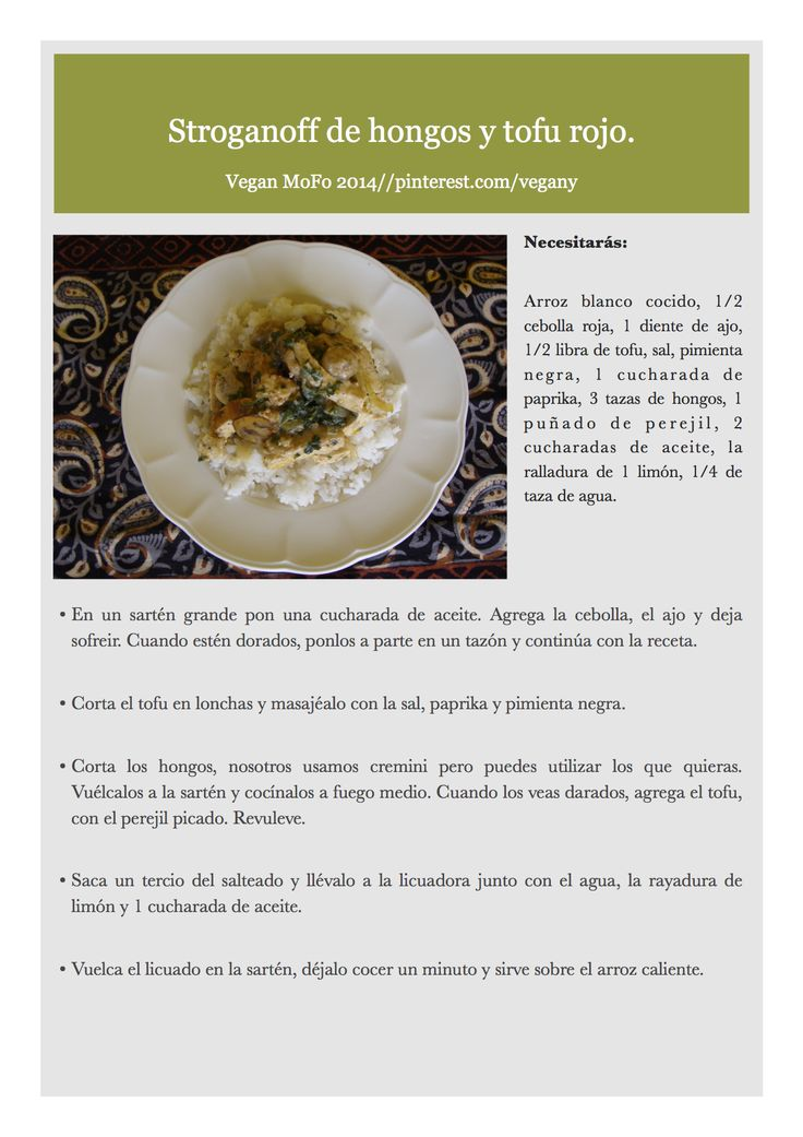 Día 16 del VegaMofo: Stroganoff de hongos y tofu rojo.