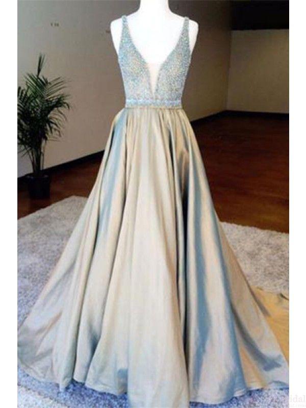 v-neck beading prom dresses, prom ball gown, beautiful prom dresses #SIMIBridal #promdresses