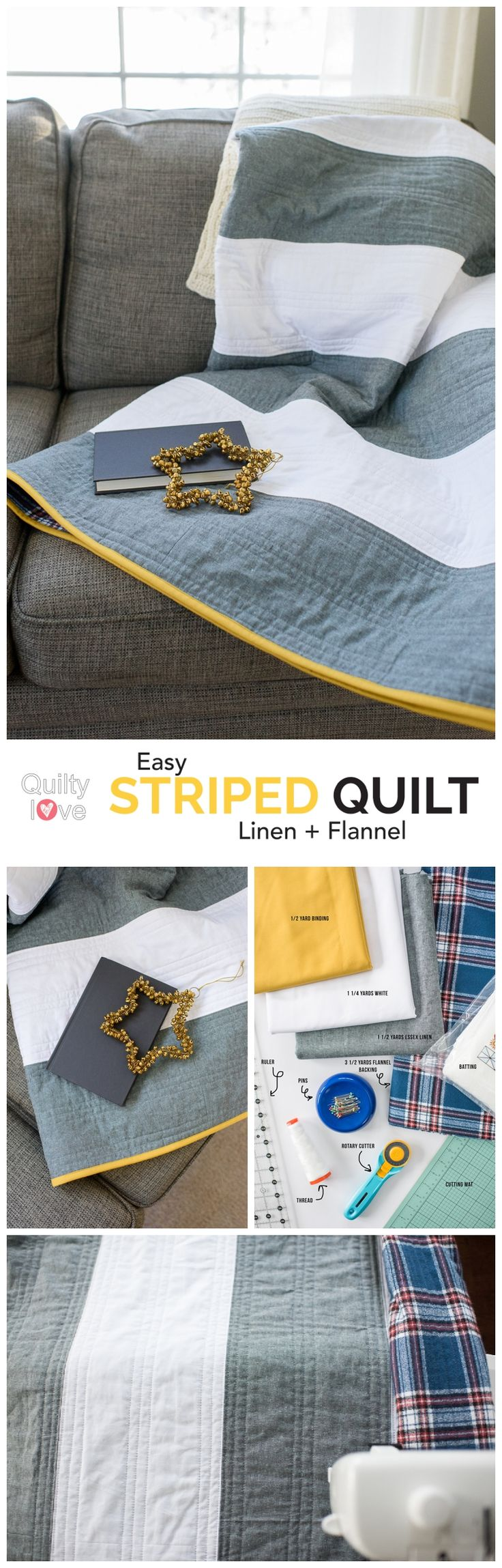 Sponsored post with fabric.com.  Free striped quilt tutorial by Emily of   Quiltylove.com.  Make up this quick and easy free quilt pattern using   Essex Linen and Robert Kaufman flannel.  Easy beginner friendly free   quilt pattern.  Affiliate link.