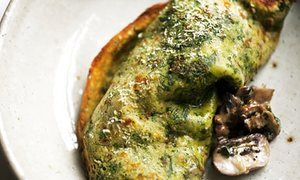 herb pancakes with Nigel Slater's herb pancake with mushrooms and crème fraîche