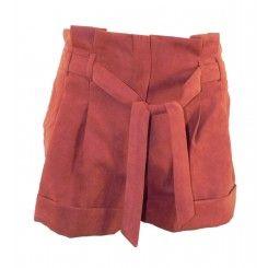 Miss selfridge rust suedette paperbag top shorts tie belt & turnups