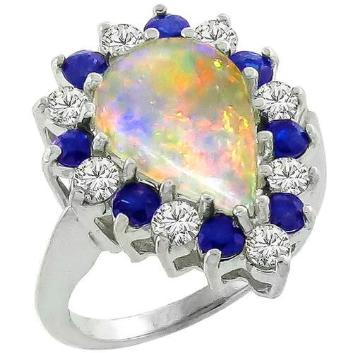 Opal 0.80ct Sapphire 0.65ct Diamond Gold Ring
