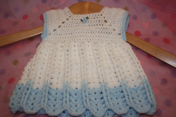 Baby crochet dress newborn clothes white by crochetyknitsnbits, £15.00