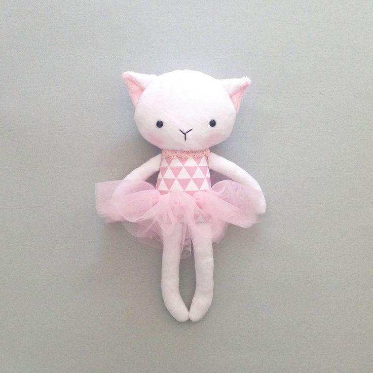 Cat rag doll - Plush cat - Handmade cat doll - Stuffed toy - plush doll - Cloth Doll - Fabric Cat Doll -  Stuffed doll - with a tutu. by CreepyandCute on Etsy https://www.etsy.com/listing/265377939/cat-rag-doll-plush-cat-handmade-cat-doll