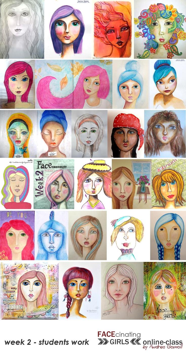 FACEcinating Girls - Online Class Students Work - Week 2 http://andrea-gomoll.de/facecinatinggirls/
