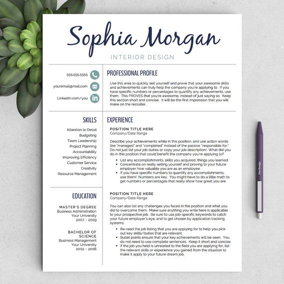 "Creative Resume Template for Word (US Letter and A4) 1 & 2 Page CV Template, Icon Set, Cover Letter, and Resume Writing Tips.  ""The Sophia"""