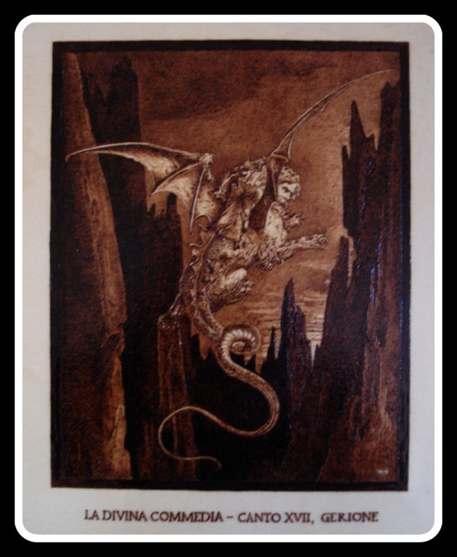 """""""#Gerione"""", #Illustrazione #Inferno di #Dante di Simone Naldini #artigianato #pirografia http://omaventiquaranta.blogspot.it/2013/11/linferno-dantesco-di-simone-naldini.htm"""