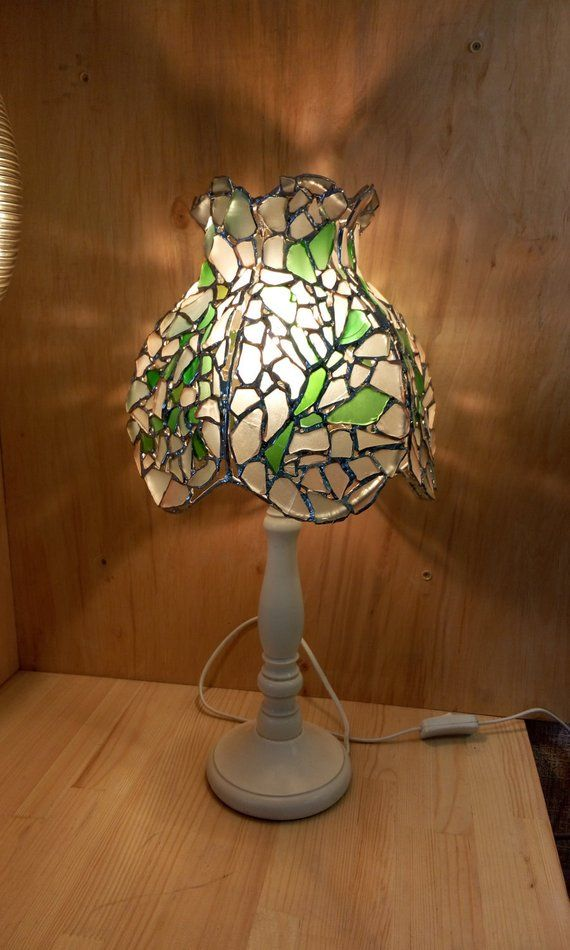 Stained Glass Tiffany Sea Glass Table Lamp Provence Shabby Vintage