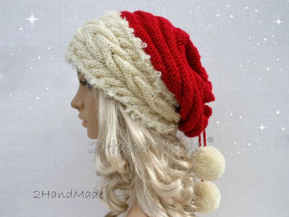 Santa Hat Adult Unisex Cable Knit Oversized Beret Baggy Neck Warmer Slouchy Christmas Santa Hat Unisex beanie Chunky Tube Scarf Pom Poms on Etsy, $31.90