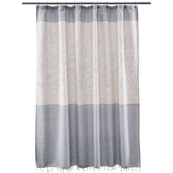 Threshold Shower Curtain Stripe Blue Fringe 99 MYR Liked On Polyvore Featuring Home