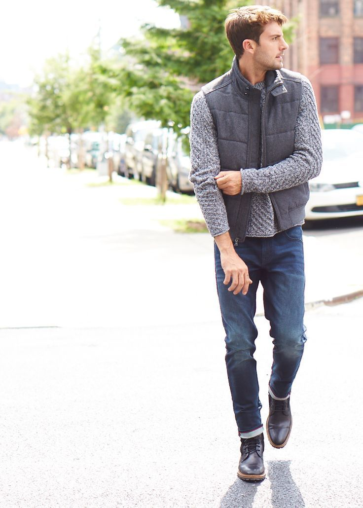 Get the layered look. Fall is for rolled denim, puffy vests, and cozy knit sweaters. Banana Republic | mens style | fall trends | layering | puffy vests | Galleria Dallas