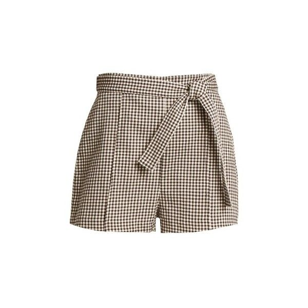 Zimmermann Paradiso gingham drill shorts (930 BRL) ❤ liked on Polyvore featuring shorts, black print, loose fit shorts, gingham shorts, loose fitting shorts, tie-dye shorts and loose shorts