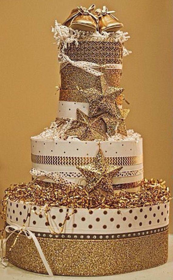 4 Tier Twinkle Twinkle Little Star DIAPER CAKE by TiersofJoybyUs