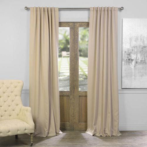 Signature Ivory Blackout Velvet Pole Pocket Single Panel Curtain, 50 X 96 Half Price