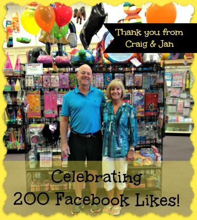 Celebrating 200 Facebook Likes! Many thanks from Craig and Jan at Funny Bones Party Superstore #partysupplies #newburyport #salisbury #balloons