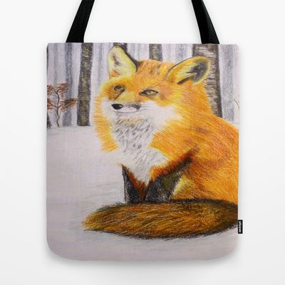 Fox in snowy forest #snowy #forest #fox #society6 #drawing #totebag #sale #20%