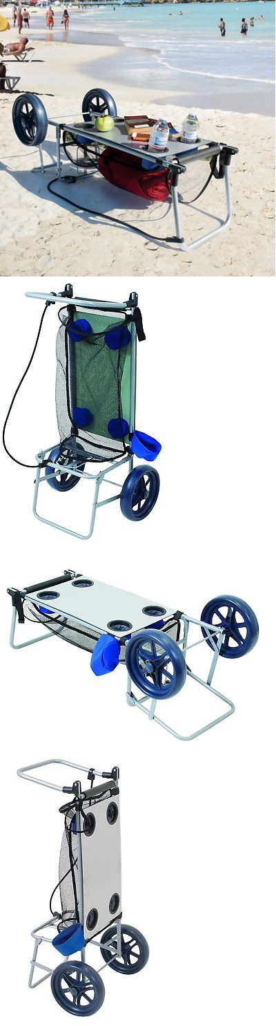Wheelbarrows Carts and Wagons 75671: Beach Carts For Sand With Big Wheels Folding Table Towel Storage Cup Holder New -> BUY IT NOW ONLY: $47.7 on eBay!