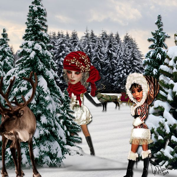 ChristmasMorning_web My digital art page using Xquizart Christmas Past Dolls & Chritmas Morning kit from Hollliewood Studio