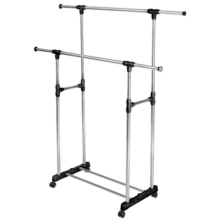 Nice Double Adjustable Portable Clothes Rack Hanger Extendable Rolling HEAVY DUTY