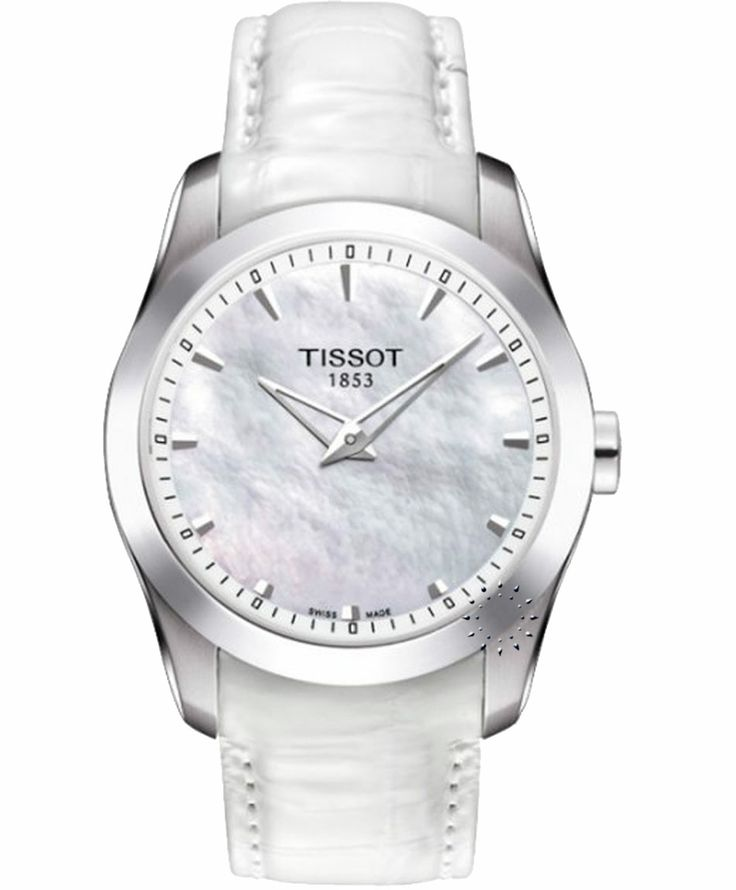TISSOT Ladies Couturier Grande Date White Leather Strap Η τιμή μας: 400€ http://www.oroloi.gr/product_info.php?products_id=38467