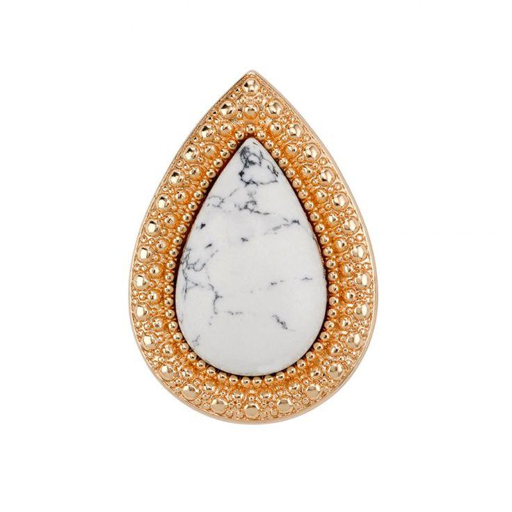 SAMANTHA WILLS - BOHEMIAN BARDOT RING -WHITE HOWLITE/SHINY GOLD