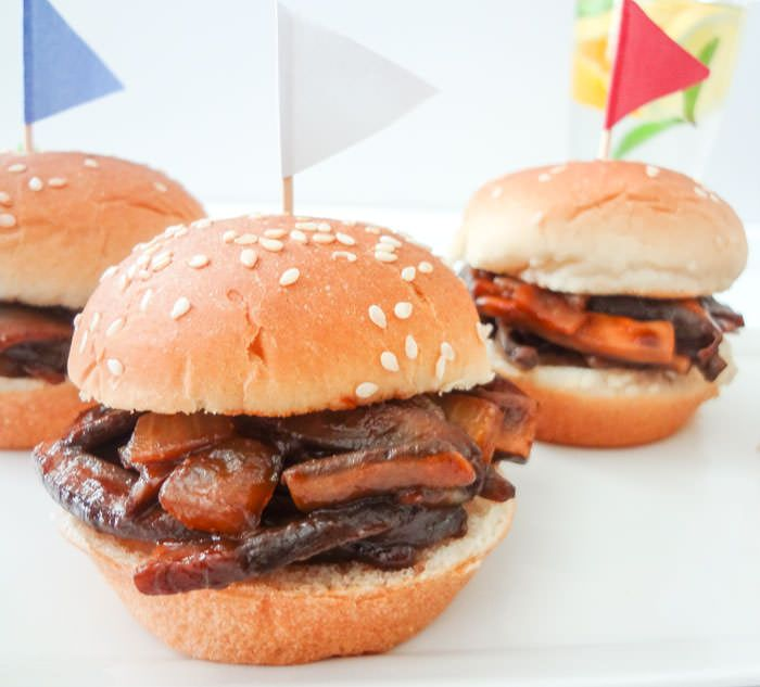 'Pulled Portobello' BBQ Sliders - ingredients were good but lessen the amount of sauce next time - added honey -BH