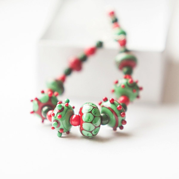 OOAK Christmas lampwork handmade glass, coral and malachite necklace. $50.00, via Etsy.