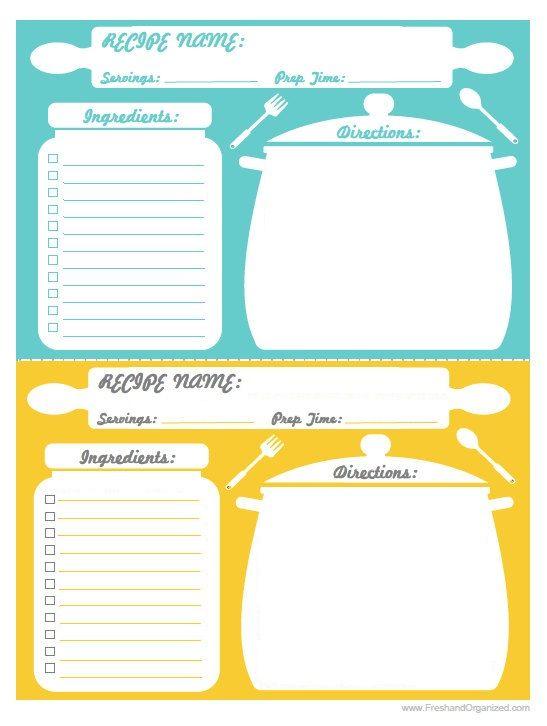 recipe cards print using 5x7