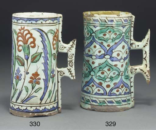 An Ottoman Iznik pottery mug, Turkey, 17th century: