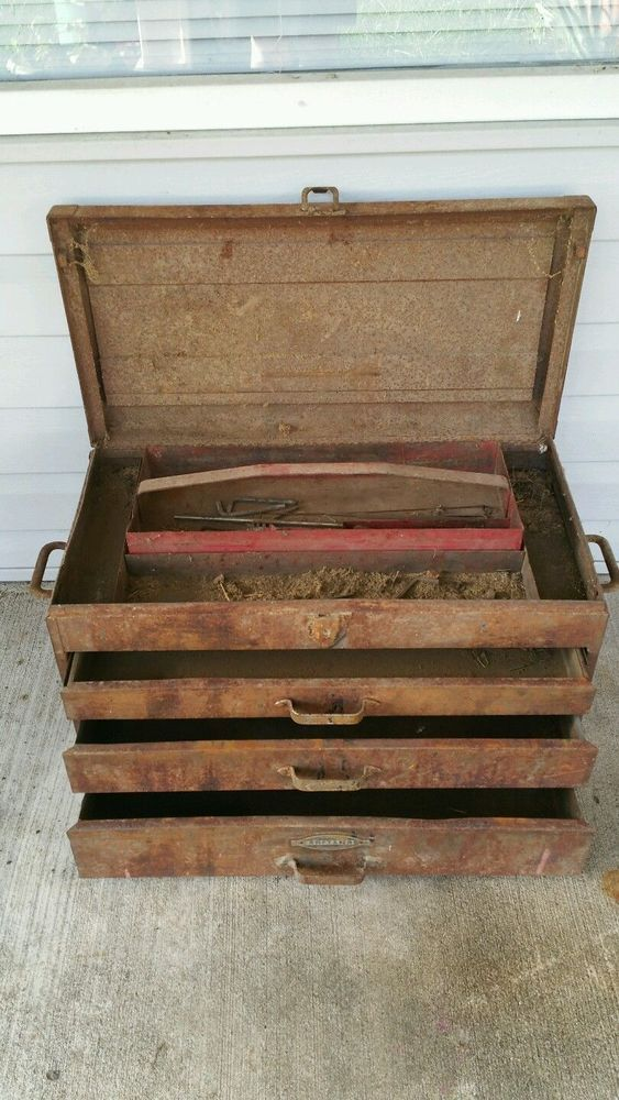Vintage craftsman mechanics tool chest /Box very rusty steam punk Decor