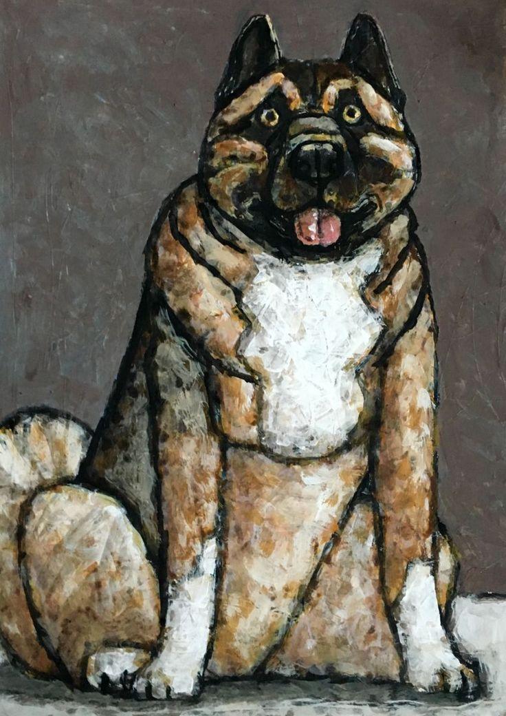 Американская Акита/American Akita - Картина,  50x70 cm ©2016 - DMITRIY TRUBIN -                                                                Животные, Люди, Портреты, Собаки, акита, порода, америка, ину, собака, портрет пса, купить картину, купить акиту