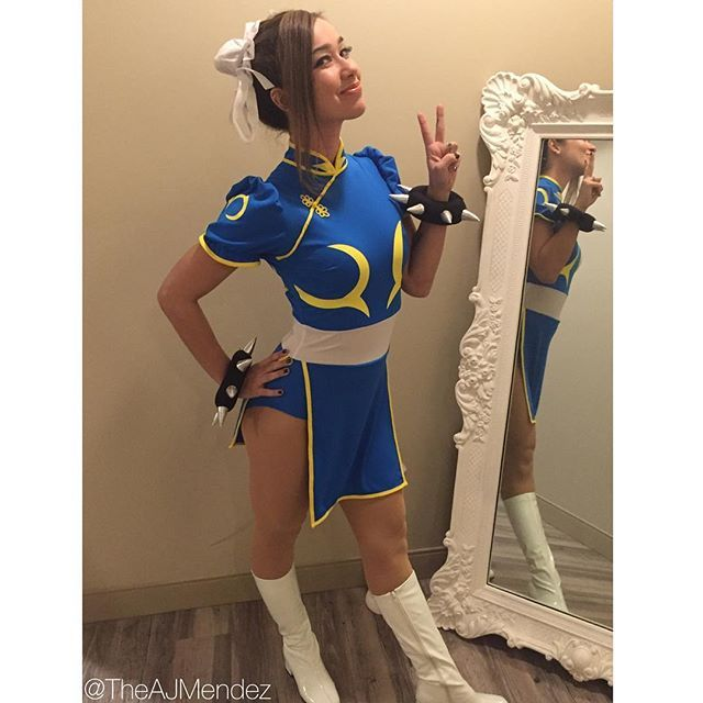 AJ Lee as Street Fighter's Chun Li. #AJ_Lee #WWE