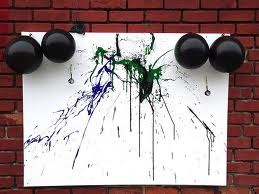 Make Balloon painting Dart Art!Canvas Ideas, Buckets Lists, Balloons Painting, Painting Darts, Abstract Painting, Darts Painting, Darts Art, Balloons Filling, Carnivals Ideas