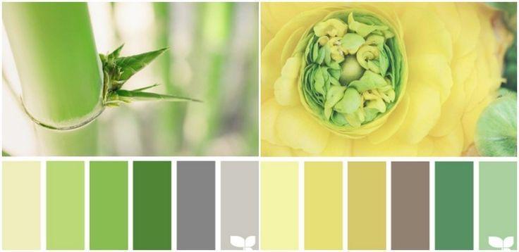 Grün und gelb mit Grau und Braun kombinieren