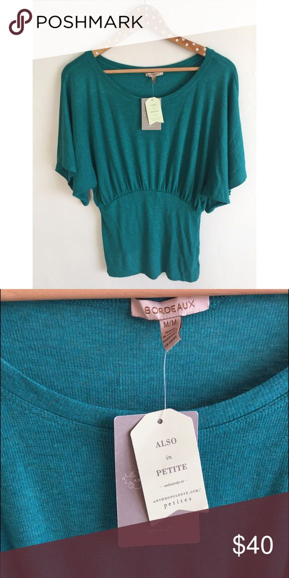 NWT Anthropologie Bordeaux Knit Top Color is MUCH brighter in person, a beautiful teal. My camera didn't pick up the true color at all.😫 Anthropologie Tops