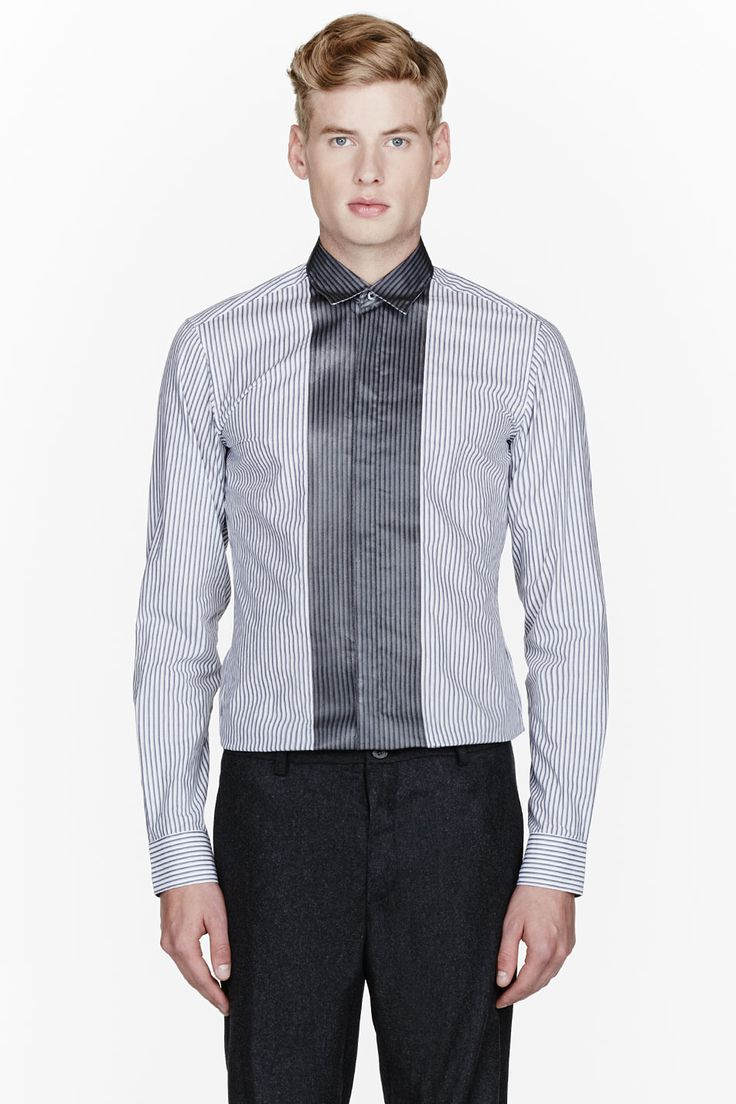 LANVIN Grey pinstriped painted placket shirt
