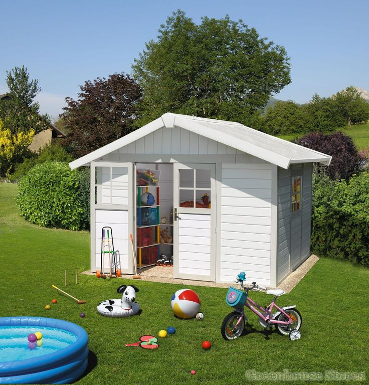 Charming Grosfillex Deco 10x8 PVC Plastic Shed In White U0026 Pale Green
