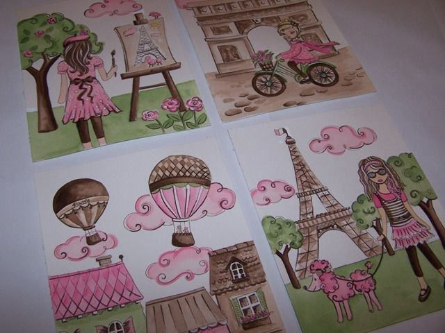 4 PINK BROWN PARIS FRANCE FRENCH WALL ART DECOR EIFFEL TOWER GIRLS BEDDING PRINT