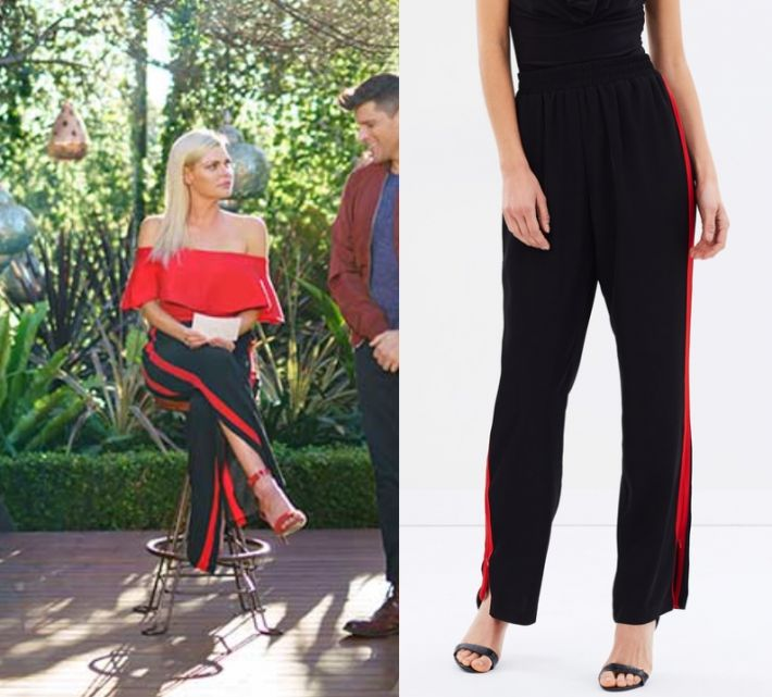 Sophie Monk wears these black side stripe pants in this episode of The Bachelorette on Wednesday October 18th, 2017. It is the Atmos&Here Bella Straight Leg Track Pants.