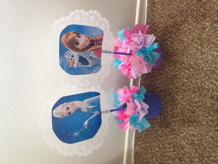 DIY frozen center pieces for girls birthday party.. Easy to make