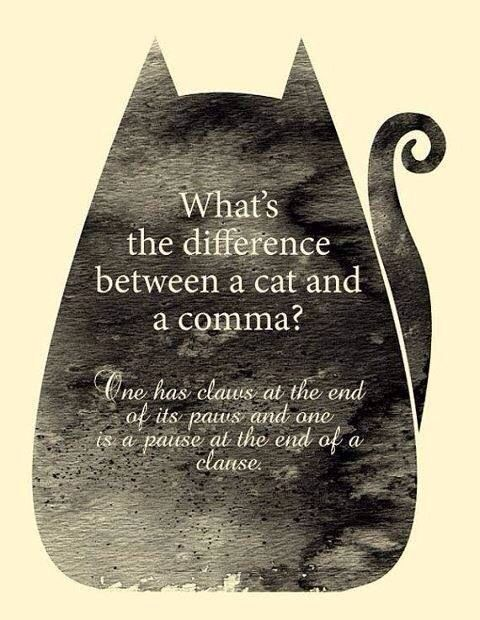 Ever wonder what's the difference between a cat and a comma? Here is your answer.