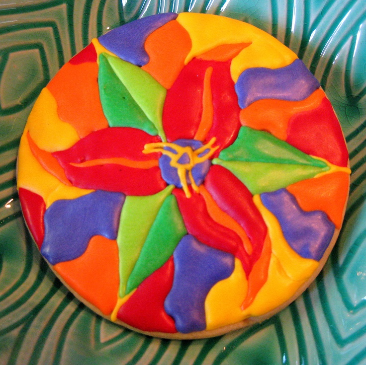 Trillium Art cookie based on art by Marion Bradish- cookie by Rebecca Weld The Cookie Architect