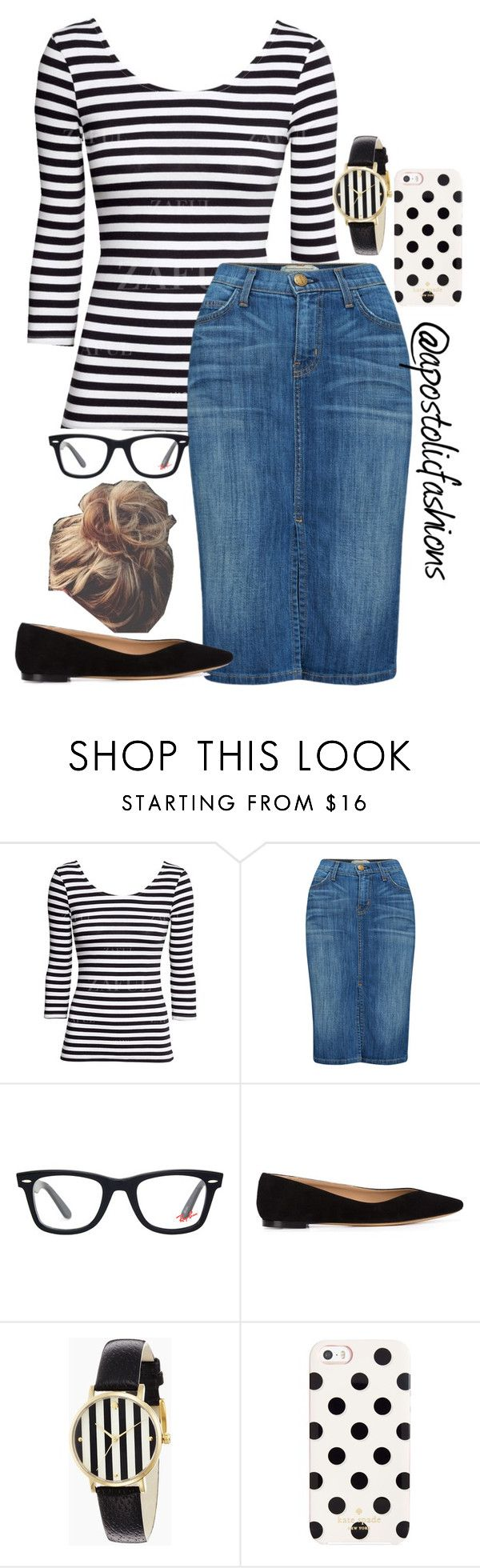 """""""Apostolic Fashions #887"""" by apostolicfashions on Polyvore featuring Current/Elliott, Ray-Ban, Chloé and Kate Spade"""