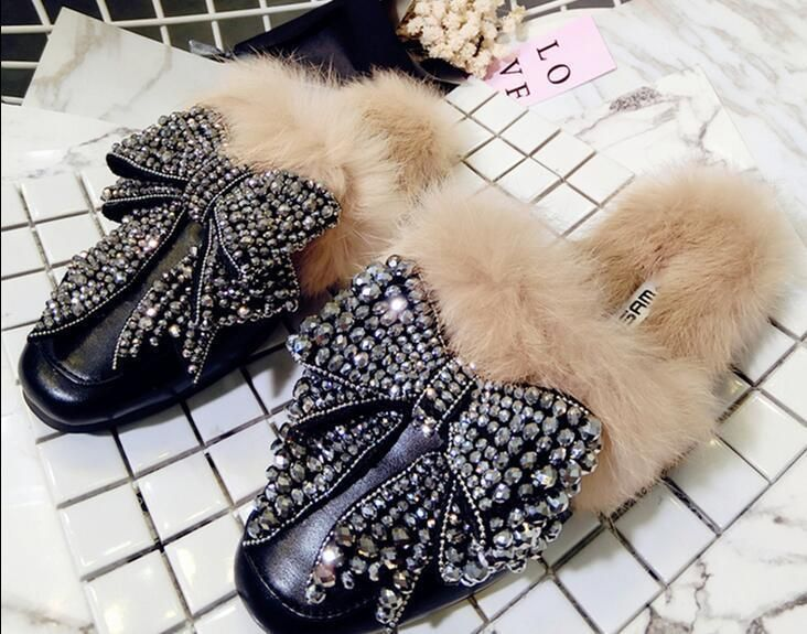 Womens Rhinestone Loafer Fur Lined Casual Oxford Style Casual Flat Heel Shoes http://feedproxy.google.com/fashionShoes22