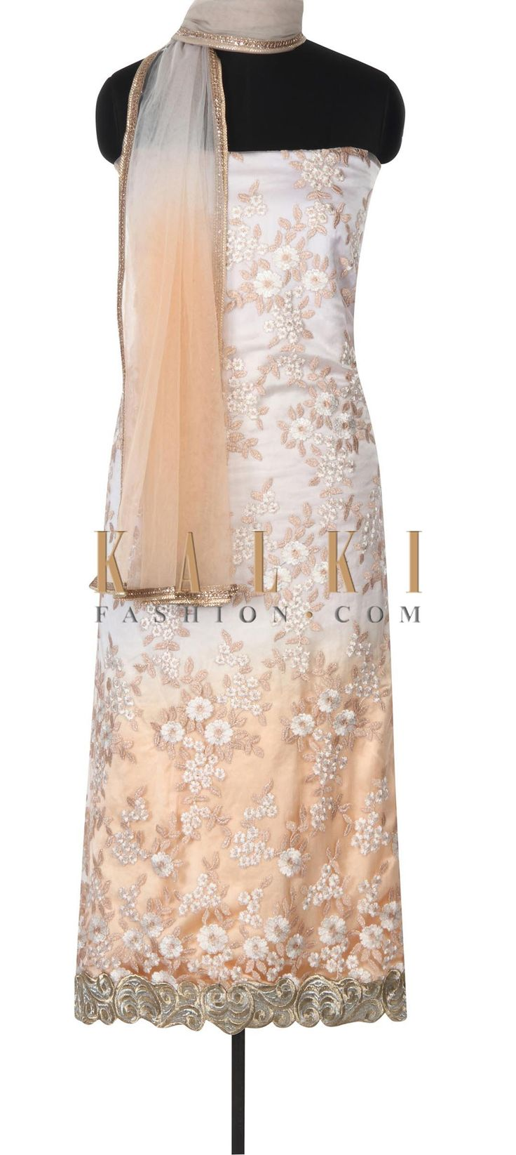 Buy this Peach unstitched suit adorn in floral motif only on Kalki