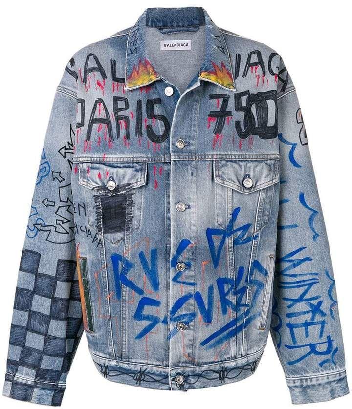 65aa3e1c9 Balenciaga handwritten denim jacket | Custom denim in 2019 ...