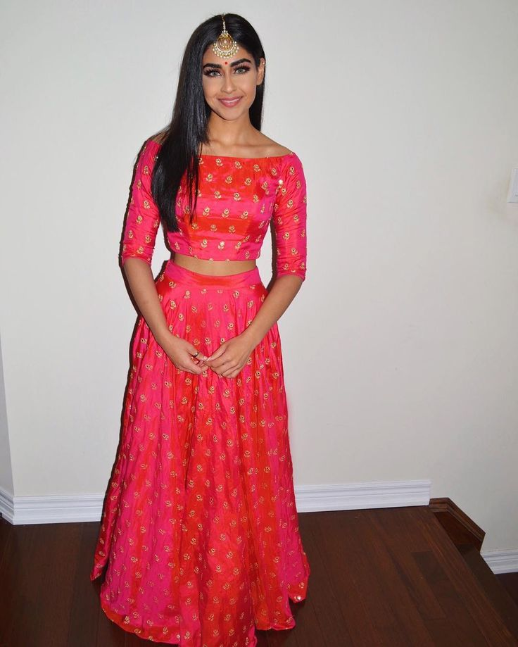 boat neck 3/4 sleeve crop w lengha simple silk pink coral gold