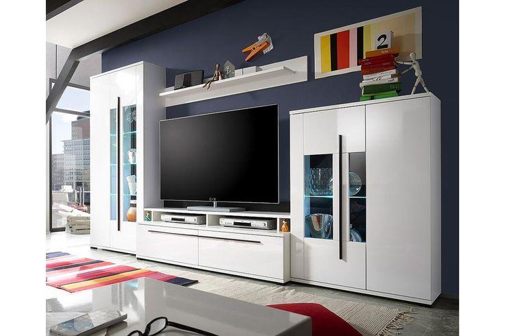 Nila nappali szekrény, fehér/magasfényű fehér, 320x195x45 cm