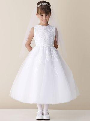 Joan Calabrese White Lace Appliqué Tulle Communion Dress