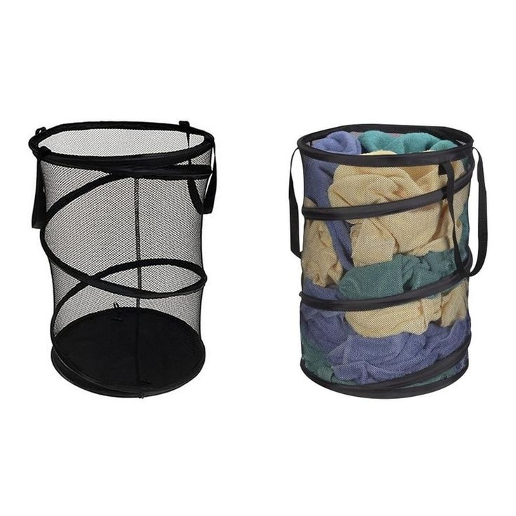 Imperial Home Mesh Laundry Bag Collapsible Laundry Basket - Travel Laundry Hamper, Black (Polyester)